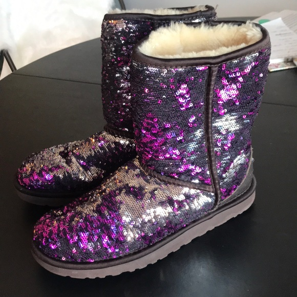 73bd0d2dc99 silver and purple sequin UGG BOOTS